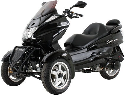 150cc Trike Scooter (Color: Black)