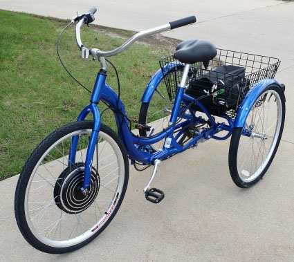 "1000 Watt Electric Powered Tricycle Motorized Trike 26"" Adult Size 3 Wheel Trike Scooter Bicycle (Color: Blue)"