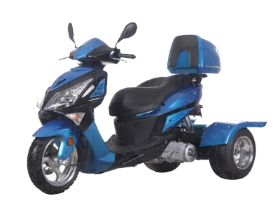 150cc Hawk Air Cooled  4 Stroke Moped Trike Scooter (Color2: Blue/Black)