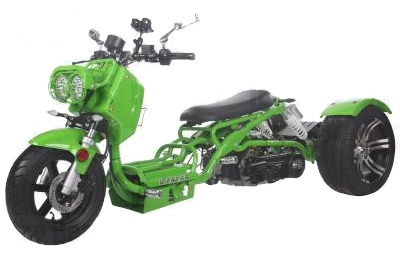 150cc Maddog Air Cooled Single Cylinder 4-Stroke Trike Moped Scooter (Color: Green)
