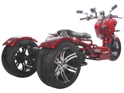 150cc Maddog Air Cooled Single Cylinder 4-Stroke Trike Moped Scooter (Color: Burgundy)