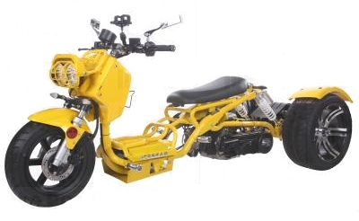150cc Maddog Air Cooled Single Cylinder 4-Stroke Trike Moped Scooter (Color: Yellow)
