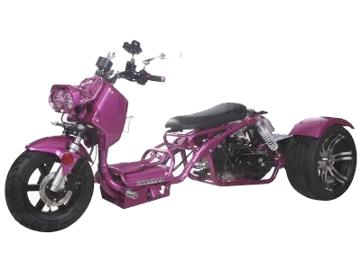50cc Maddog Air Cooled Single Cylinder 4-Stroke Trike Moped Scooter (Color: Purple)